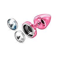 Не только приятно, но и красиво - Анальная пробка со сменными стразами - Anni Magnet, цвет: розовый