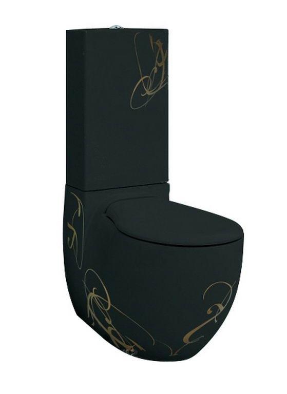 Унітаз моноблок ArtCeram Blend, gold lettering on black (BLV0030306)