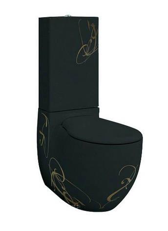 Унітаз моноблок ArtCeram Blend, gold lettering on black (BLV0030306), фото 2