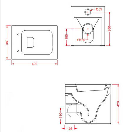 Підлоговий унітаз ArtCeram Block, black white (BKV0020150), фото 2