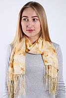 Шифоновый шарф с кистями Фиеста бежевый 120*45 (+ 15 см. бахрома*2) (763(4-1))