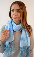Шифоновый шарф с кистями Фиеста голубой 120*45 (+ 15 см. бахрома*2) (763(4-3))