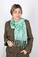 Шифоновый шарф с кистями Фиеста зеленый 120*45 (+ 15 см. бахрома*2)
