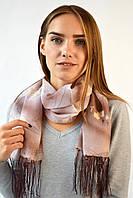 Шифоновый шарф с кистями Фиеста коричневый 120*45 (+ 15 см. бахрома*2) (763(1-2))