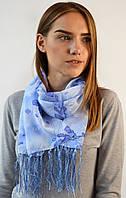 Шифоновый шарф с кистями Фиеста небесный 120*45 (+ 15 см. бахрома*2) (763(7-3))