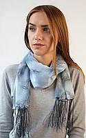 Шифоновый шарф с кистями Фиеста серый 120*45 (+ 15 см. бахрома*2) (763(13-5))