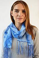 Шифоновый шарф с кистями Фиеста синий 120*45 (+ 15 см. бахрома*2) (763(13-4))