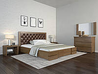 Двоспальне ліжко Арбор Древ Регіна Люкс з підйомним механізмом ромб 160х200 сосна (DH160) Оббивка білий колір (BOSTON 26) Білий (структура дерева не