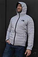 Зимняя мужская куртка, стеганая мужская куртка, зимняя куртка-бомбер The North Face (светло-серый), Реплика
