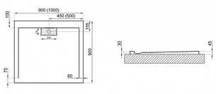 Душовий піддон Polimat Comfort 90x90 чорний (00830), фото 2