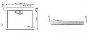 Душовий піддон Polimat Comfort 120x80 білий (00842), фото 2