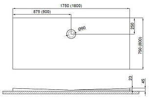 Душовий піддон Polimat Pacyfik 180x80 (00322), фото 2