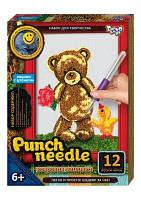 """Ковровая вышивка """"Punch needle: Мишка с цветочком"""" PN-01-01"""