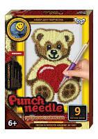 """Ковровая вышивка """"Punch needle: Мишка с сердечком"""" PN-01-05 PN-01-01,02,0"""