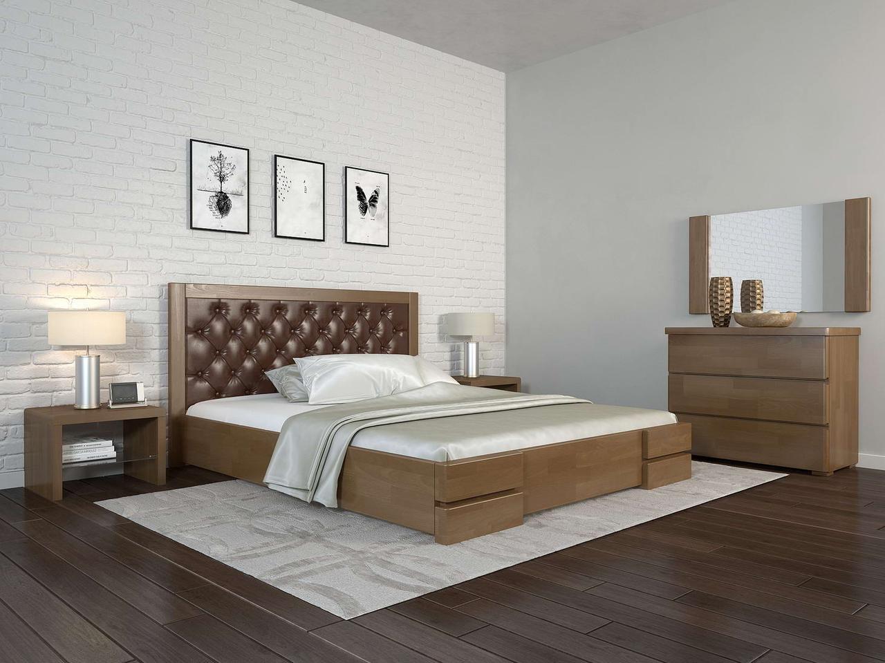 Односпальне ліжко Арбор Древ Регіна Люкс ромб 120х190 бук (TR120.2)