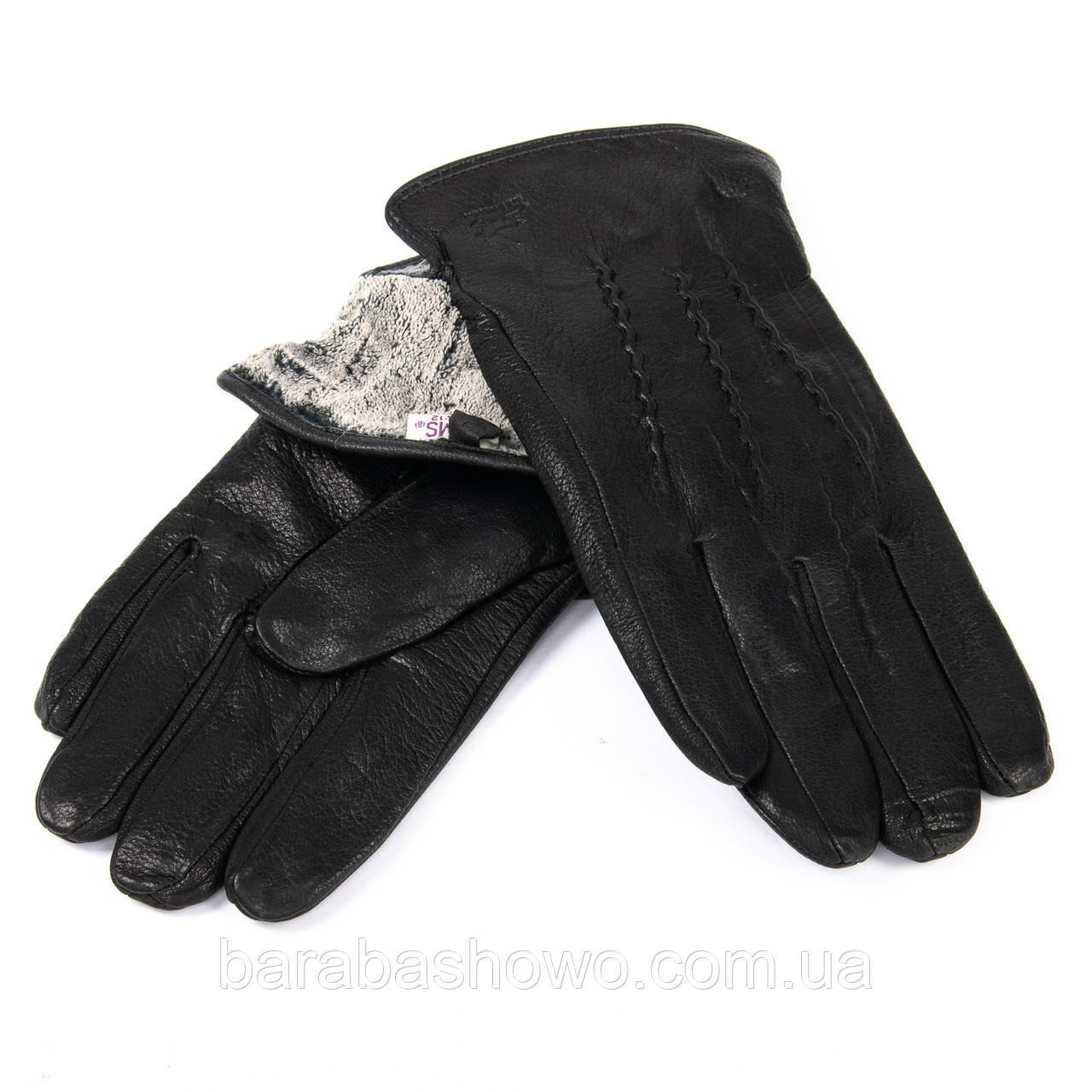 Мужские перчатки, кожа - олень. черные. Подкладка махра. MOD 4