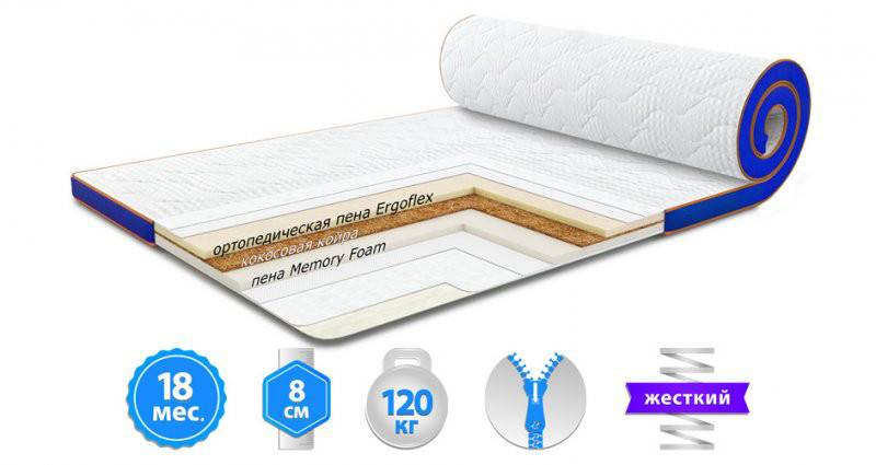 Футон Sleep&Fly Memo 2 в 1 Kokos 70x190 см (3003700701908)