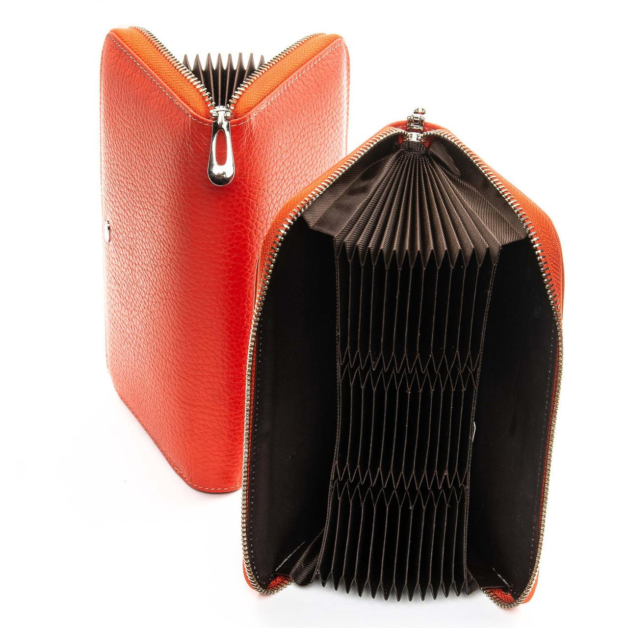 Визитница - кошелек на змейке, цвет - оранжевый, Classic кожа DR. BOND (WS-8 orange)