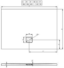 Душовий піддон Riho Basel 434 1400х1000, білий (DC38), фото 3