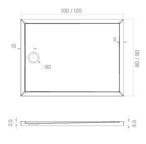 Душовий піддон NEW TRENDY NEW CANTARE 120x90x4,5 см (B-0429), фото 2