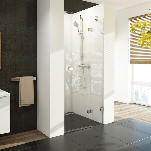 Двоелементні душові двері Ravak Brilliant BSD2-80 A-R хром + скло Transparent (0UP4AA00Z1)