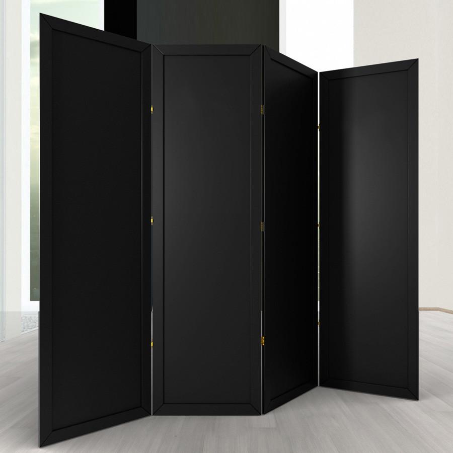 Ширма ДекоДім Економ на 4 секції 160х200 см, чорна (EBL-8)