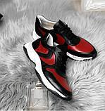 Стильные женские кроссовки №1241R-черная кожа-красный, фото 2