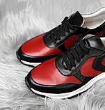 Стильные женские кроссовки №1241R-черная кожа-красный, фото 3