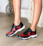 Стильные женские кроссовки №1241R-черная кожа-красный, фото 4