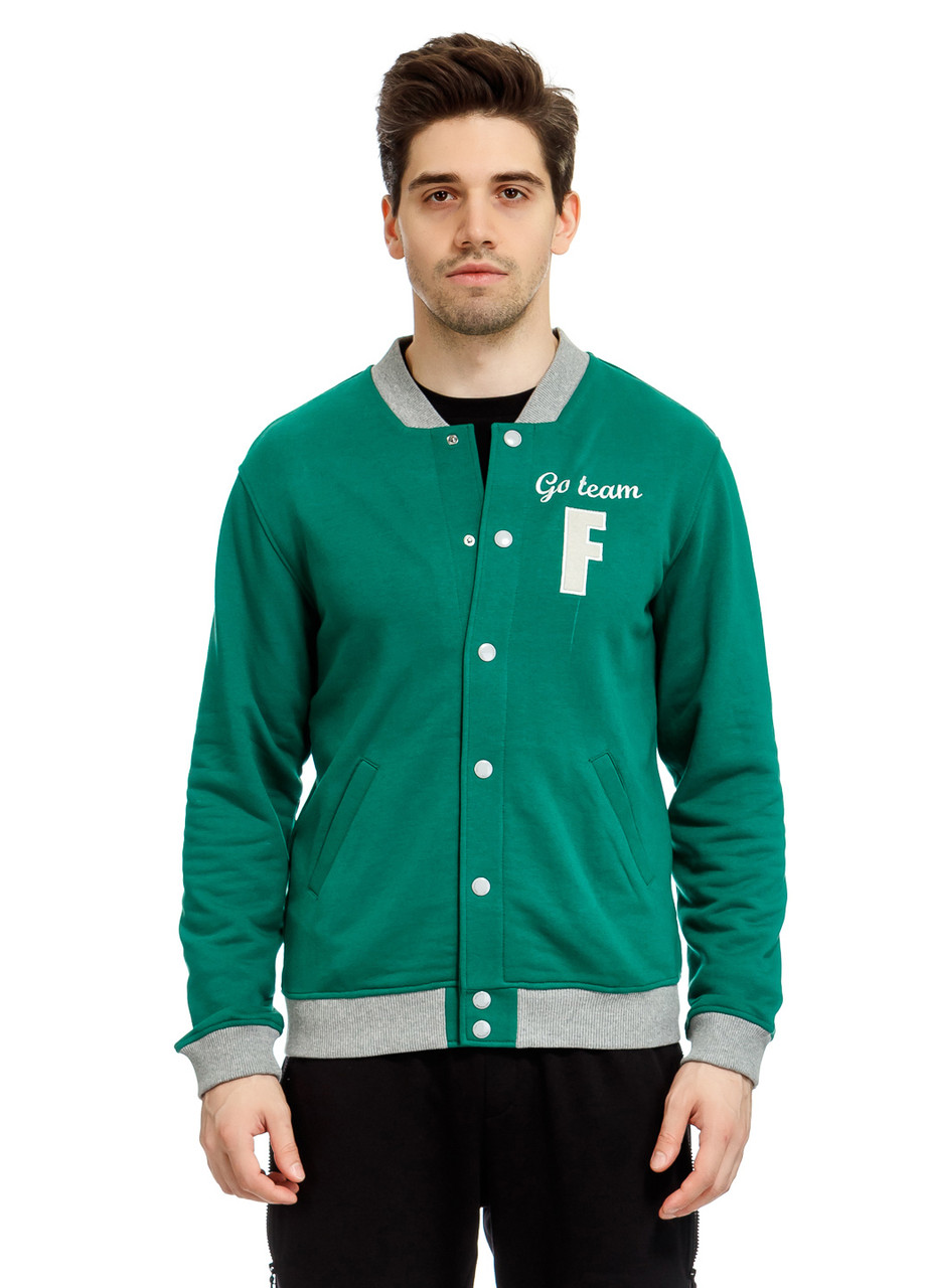 Бомбер мужской College boy зеленого цвета