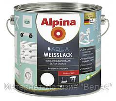 Белая акриловая шелковисто-матовая эмаль Alpina Aqua Weisslack 0,75л