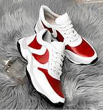 Стильные женские кроссовки №1241R-Белая Кожа-Красный, фото 2