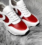 Стильные женские кроссовки №1241R-Белая Кожа-Красный, фото 3