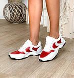 Стильные женские кроссовки №1241R-Белая Кожа-Красный, фото 4