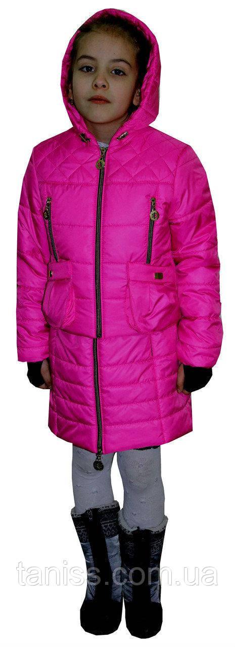Купить Демисезонный, детский комплект жилет с курткой, размеры 34, 36, цвет малина( 1)дитяча демісезонна куртка
