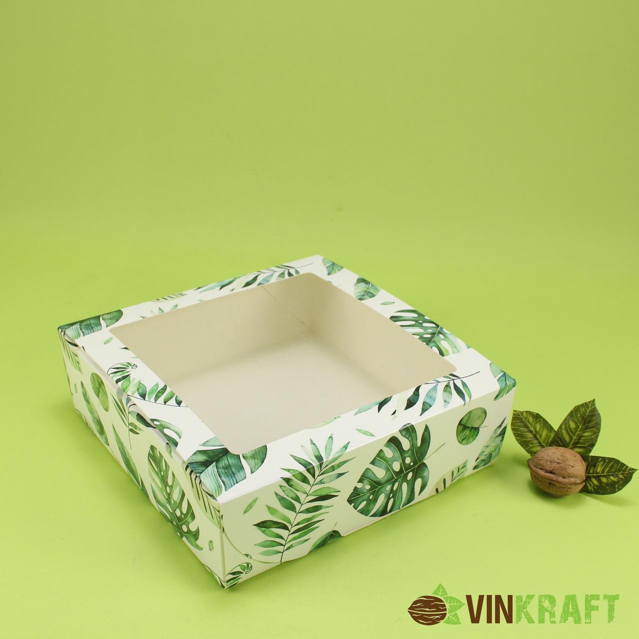Подарункова коробка 200*200*65 з вікном, біла з принтом