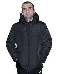 Стильная,демисезонная,мужская куртка,капюшон съемный, размеры 48-62,черный(03)чоловіча демісезонна куртка