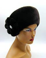 Меховая шапка женская кубанка из норки.(черная)