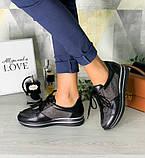 Стильные женские кроссовки  №1201R-Черная Кожа Блеск-Мелкое Серебро Кожа, фото 2