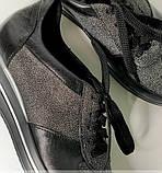 Стильные женские кроссовки  №1201R-Черная Кожа Блеск-Мелкое Серебро Кожа, фото 3