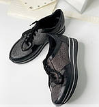 Стильные женские кроссовки  №1201R-Черная Кожа Блеск-Мелкое Серебро Кожа, фото 4
