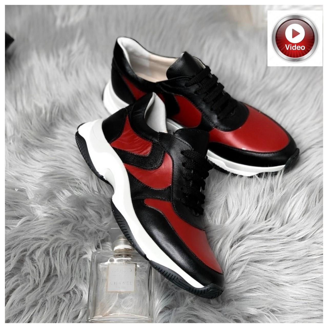 Стильные женские кроссовки №1241R-черная кожа-красный