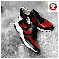 Стильные женские кроссовки №1241R-черная кожа-красный, фото 1