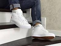 Кеды зимние Converse All Star мужские, белые, в стиле Конверс, кожа, внутри -термо, код SD-8565