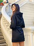 Женское стильное худи на флисе с поясом (в расцветках), фото 3