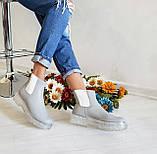 Серые зимние кожаные ботинки Челси Chelsea Ice женские, фото 4