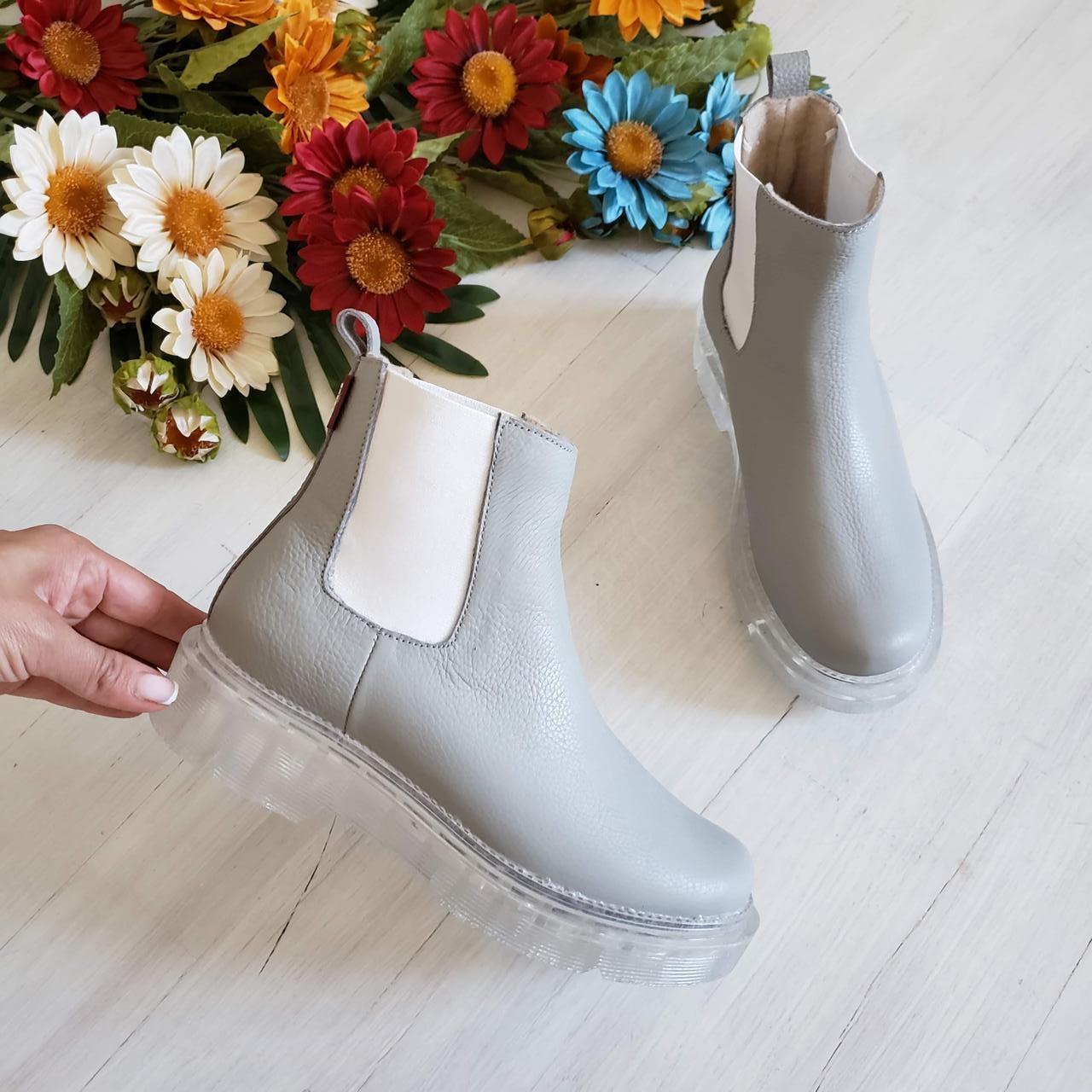 Серые зимние кожаные ботинки Челси Chelsea Ice женские