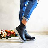 Женские зимние черные кожаные ботинки Chelsea Ice, фото 4