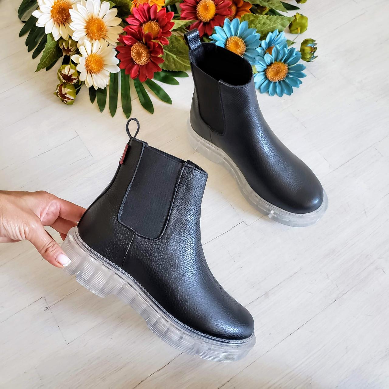 Женские зимние черные кожаные ботинки Chelsea Ice