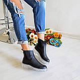 Женские зимние черные кожаные ботинки Chelsea Ice, фото 3
